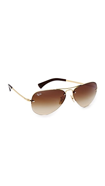 Ray-Ban Rimless Aviator Sunglasses - Arista Gold/Brown