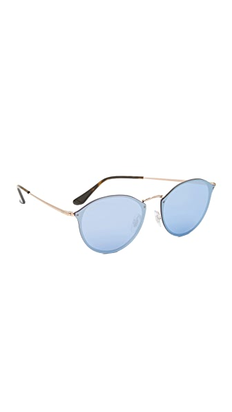 Ray-Ban Round Flat Mirrored Sunglasses - Copper/Dark Violet