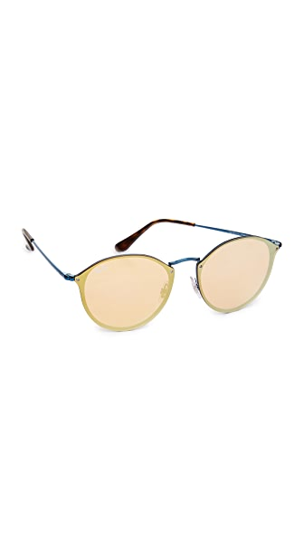 Ray-Ban Round Flat Mirrored Sunglasses - Blue/Dark Orange Gold