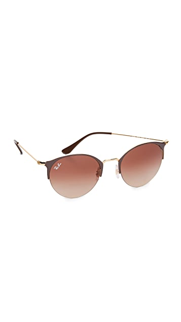 Ray-Ban Phantos Round Semi Rimless Sunglasses