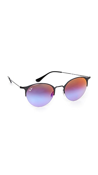 Ray-Ban Phantos Round Semi Rimless Mirrored Sunglasses - Black/Green Violet