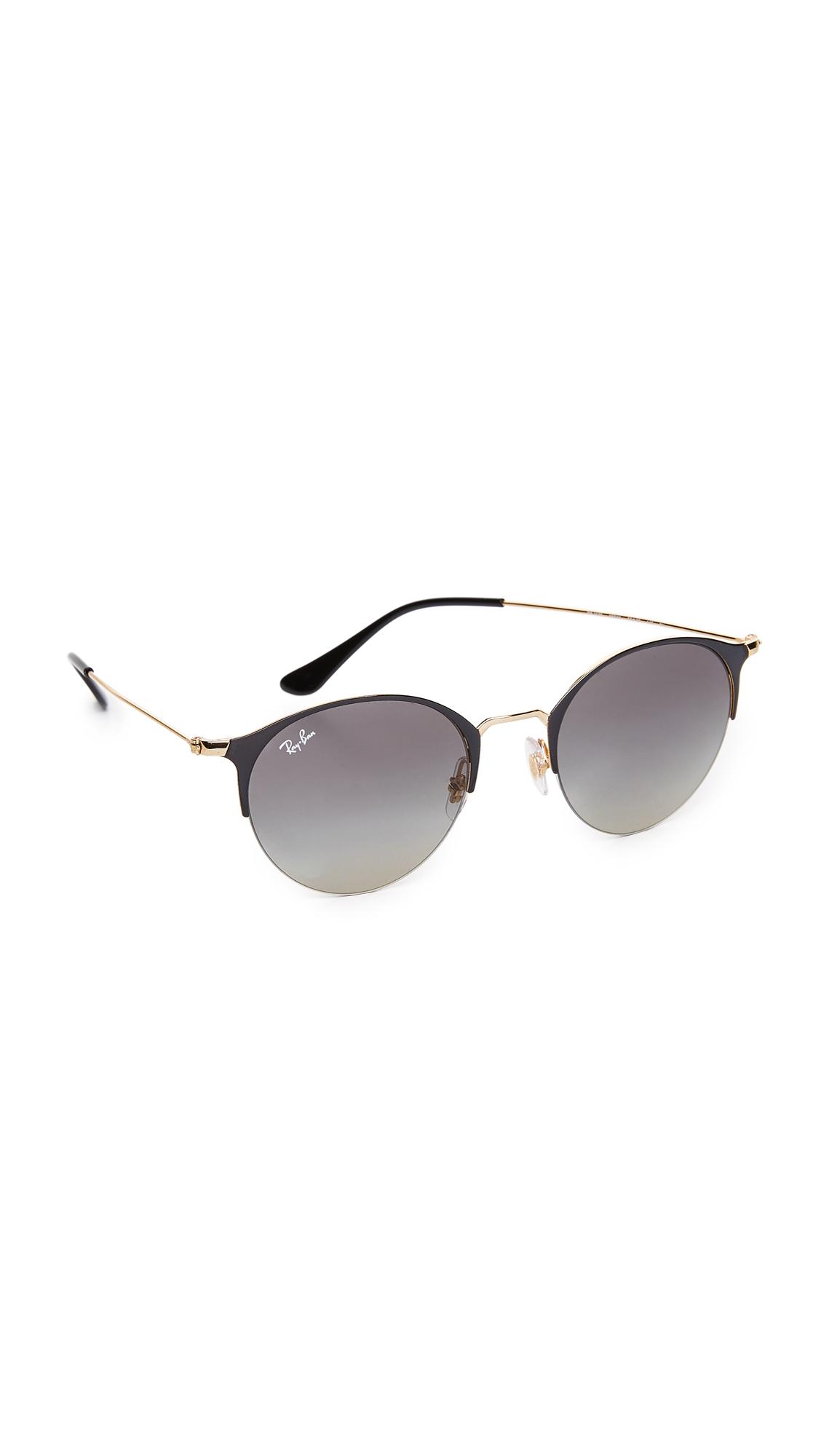 Ray-Ban Phantos Round Semi Rimless Sunglasses In Black/Grey