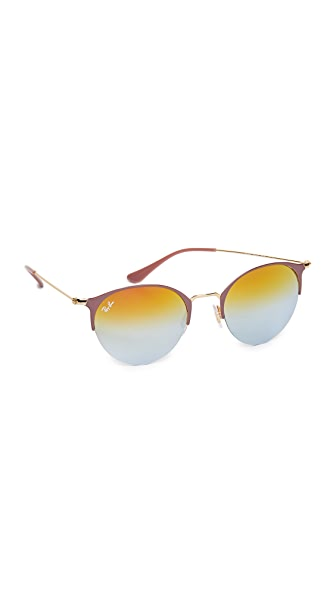 Ray-Ban Phantos Round Semi Rimless Mirrored Sunglasses