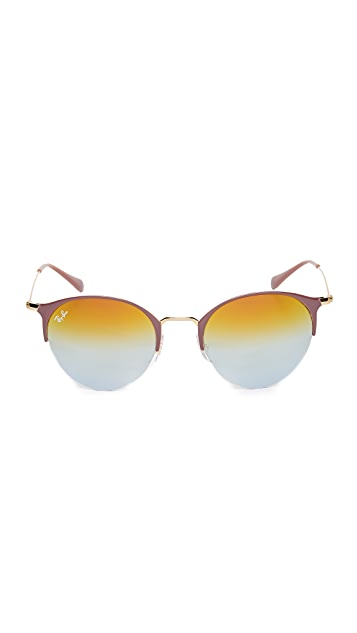 Ray-Ban Phantos Round Semi Rimless Mirrored Sunglasses