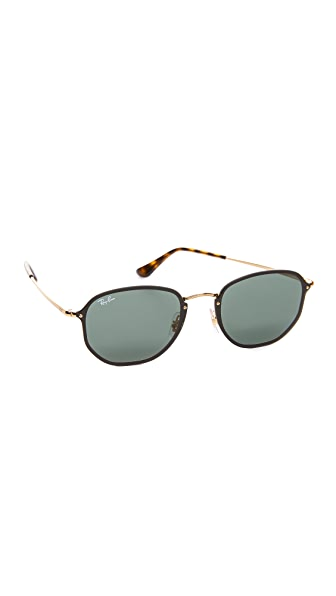 Ray-Ban Octagon Flat Sunglasses In Shiny Gold/Green