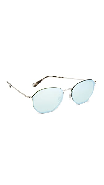 Ray-Ban Octagon Flat Mirrored Sunglasses - Silver/Dark Green Silver