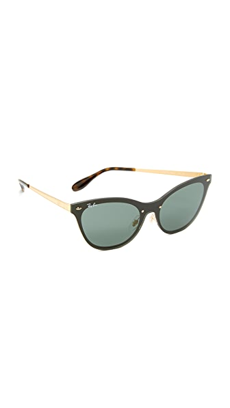 Ray-Ban Cat Eye Flat Sunglasses - Brushed Gold/Green