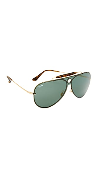 Ray-Ban Pilot Aviator Flat Sunglasses In Shiny Gold/Green