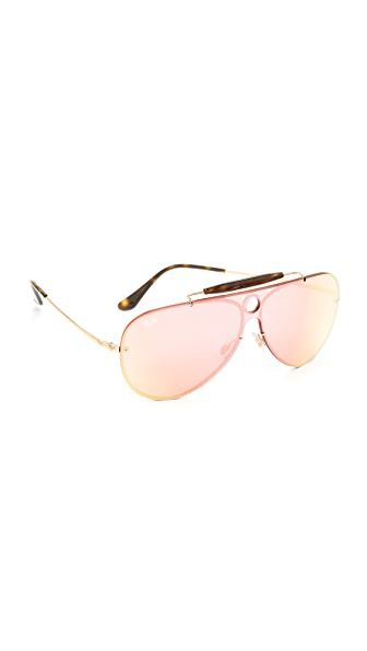 Ray-Ban Pilot Aviator Flat Mirrored Sunglasses - Gold/Pink