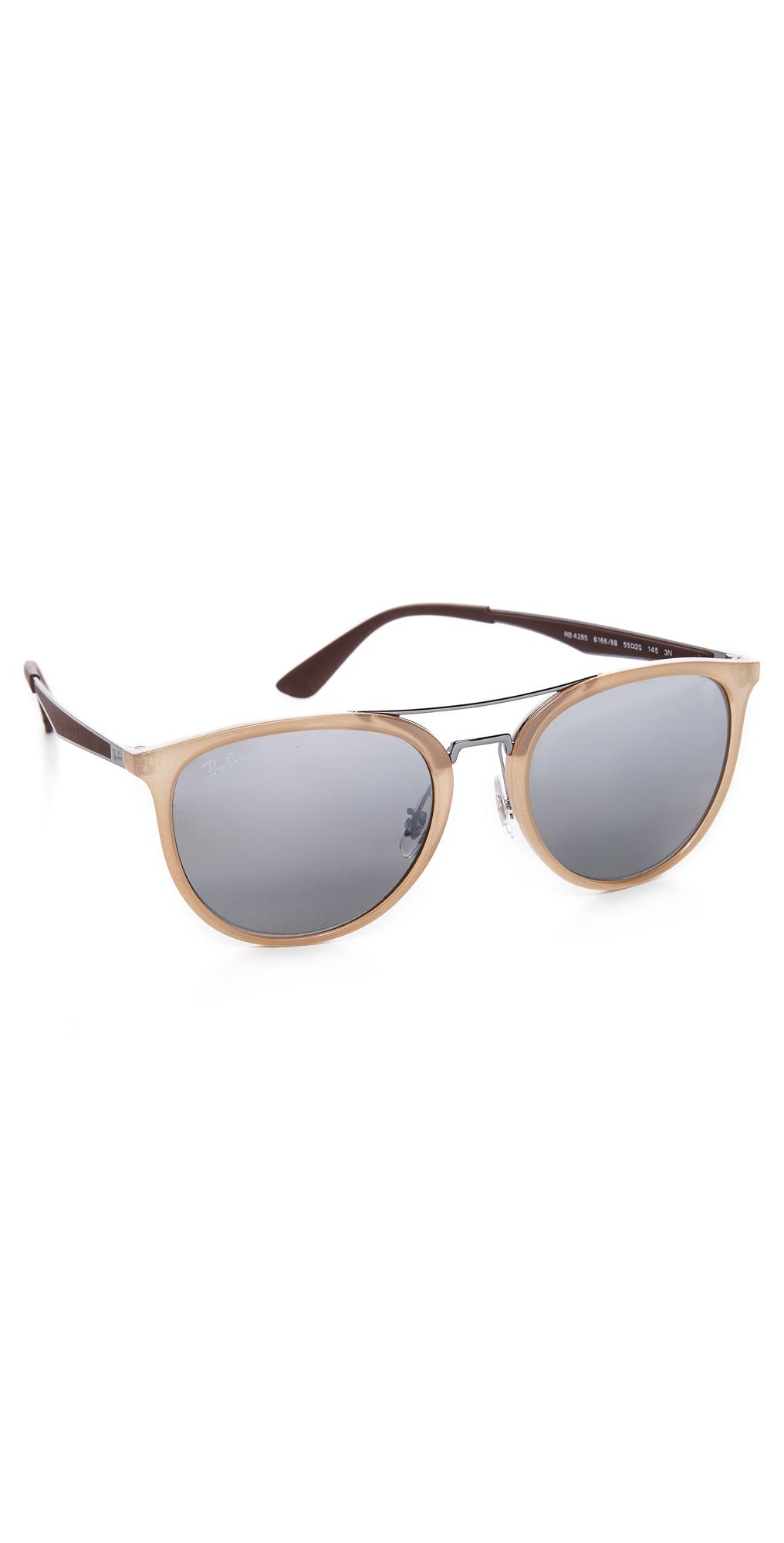Round Brow Bar Mirrored Aviator Sunglasses Ray-Ban