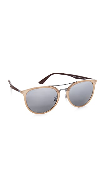 Ray-Ban Round Brow Bar Mirrored Aviator Sunglasses - Shiny Beige/Silver