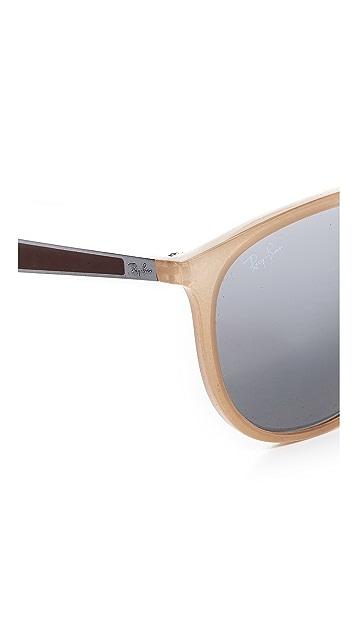 Ray-Ban Round Brow Bar Mirrored Aviator Sunglasses
