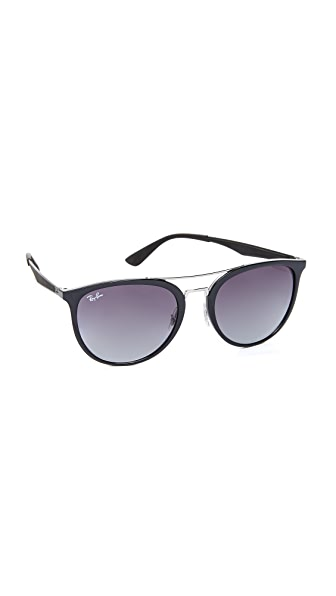 Ray-Ban Round Brow Bar Aviator Sunglasses - Black/Grey