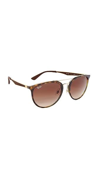 Ray-Ban Round Brow Bar Aviator Sunglasses - Light Havana/Brown