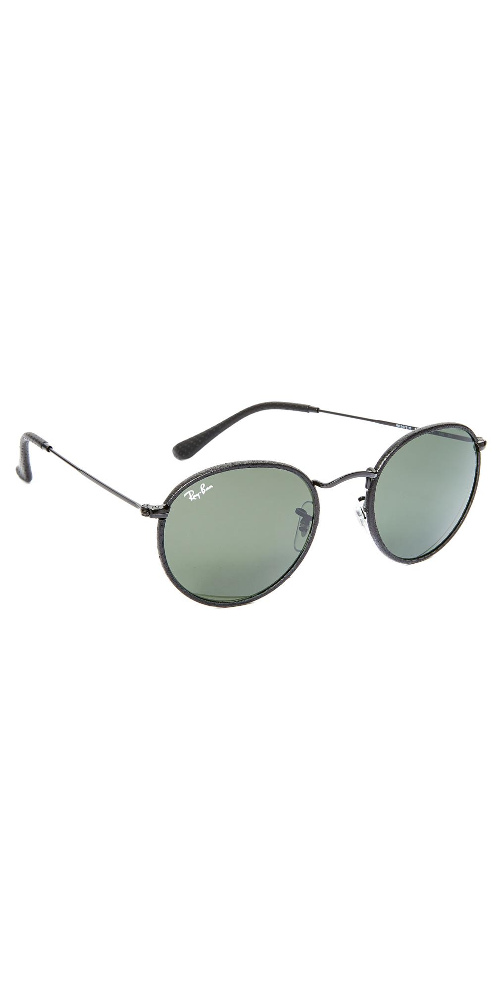 Phantos Round Leather Sunglasses Ray-Ban