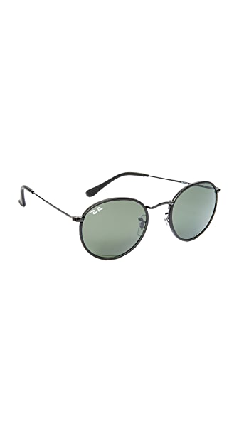 Ray-Ban Phantos Round Leather Sunglasses - Black/Crystal Green