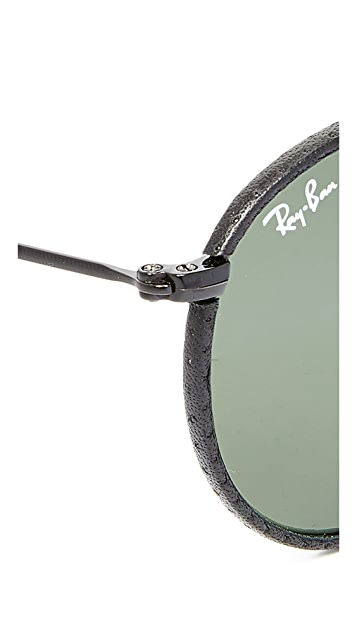 Ray-Ban Phantos Round Leather Sunglasses