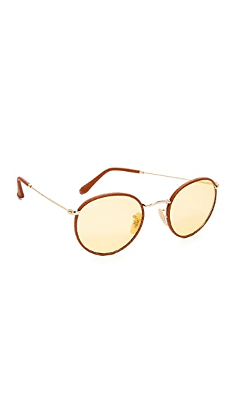 Ray-Ban Phantos Round Leather Photochromic Sunglasses - Brown/Yellow