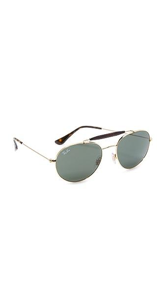 Ray-Ban Round Brow Bar Sunglasses - Gold/Green