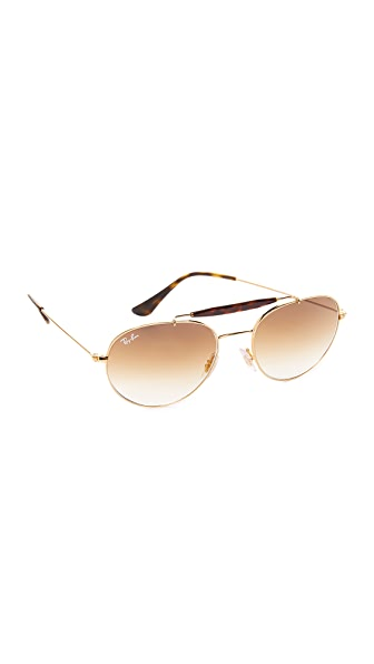 Ray-Ban Round Brow Bar Sunglasses - Gold/Brown