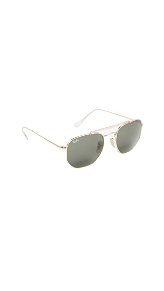 Ray-Ban Marshall Aviator Sunglasses In Gold/Green