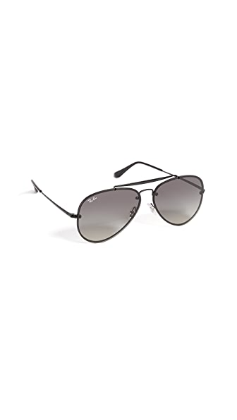 Ray-Ban Blaze Flat Lens Pilot Aviator Sunglasses In Gloss Black/Grey