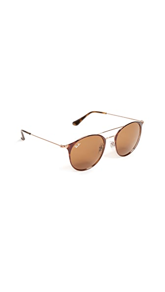 Ray-Ban Round Browbar Sunglasses In Copper Havana/Brown