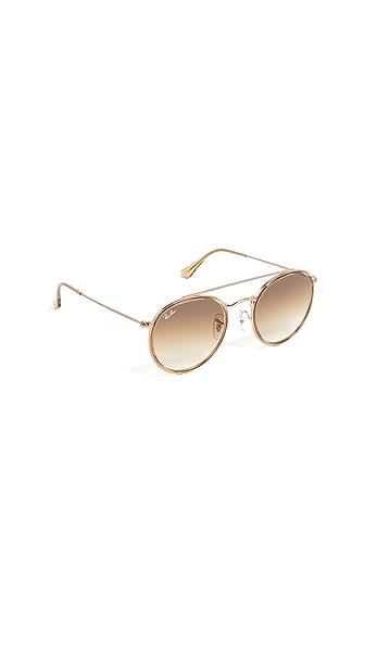 Ray-Ban Phantos Round Browbar Sunglasses In Light Brown/Brown