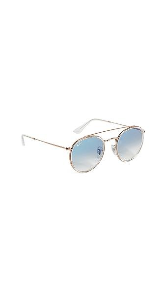 Ray-Ban Phantos Round Browbar Sunglasses In Transparent/Blue