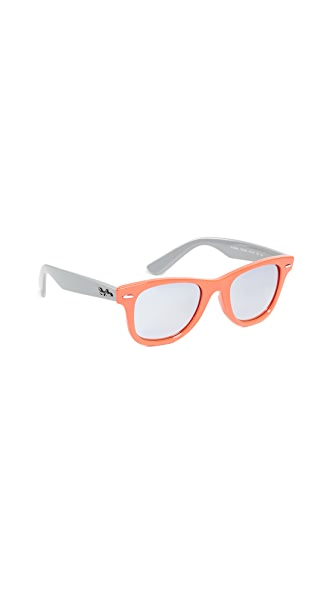 Ray-Ban Child's Wayfarer Sunglasses In Coral/Silver