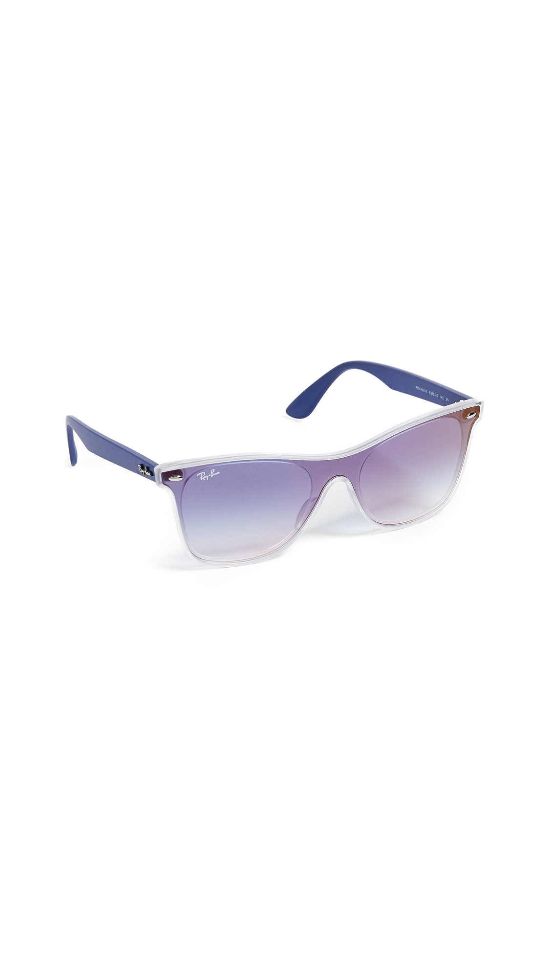 Ray-Ban Flat Sunglasses In Transparent/Gradient Blue