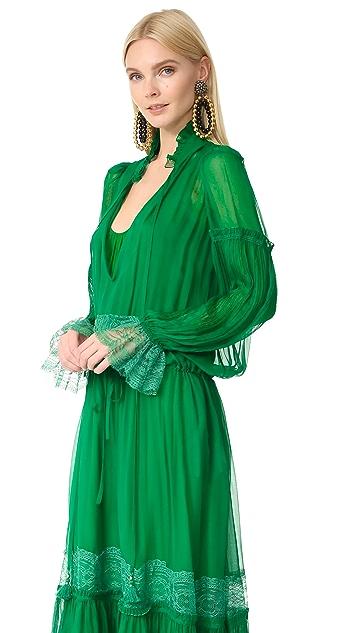 Roberto Cavalli Long Sleeve Maxi Dress
