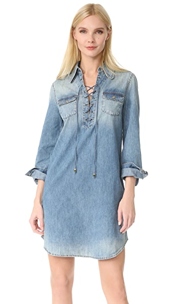 Roberto Cavalli Long Sleeve Denim Dress