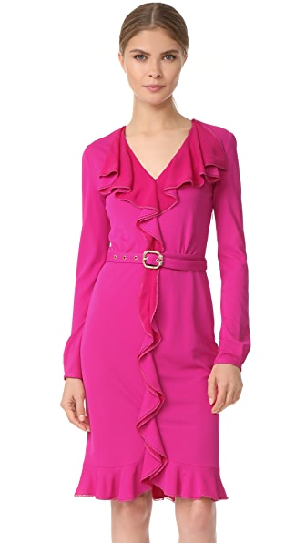 Roberto Cavalli Long Sleeve Ruffle Dress In Pink
