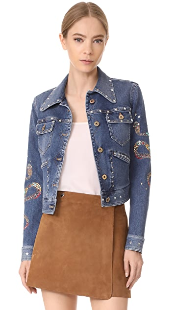 Roberto Cavalli Embroidered Jacket with Studs