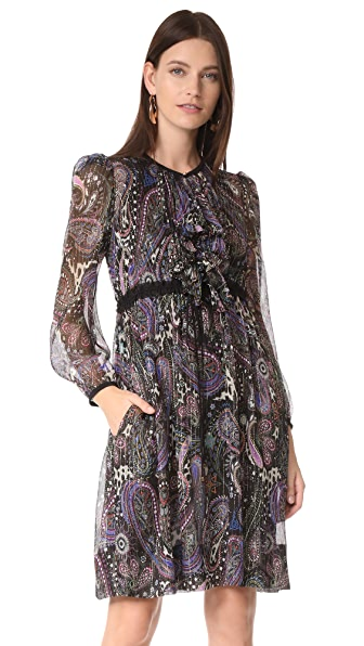 Roberto Cavalli Long Sleeve Printed Dress