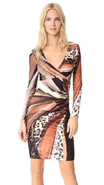 Roberto Cavalli Printed V Neck Dress In Amber