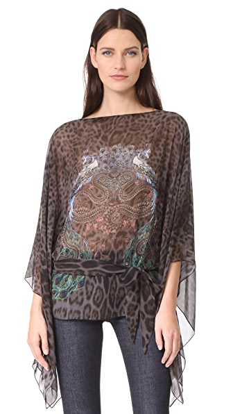 Roberto Cavalli Cinched Patterned Top - Melanistic