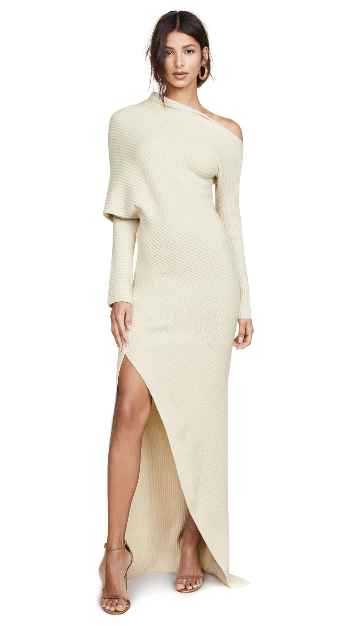 Roberto Cavalli One Shoulder Long Sleeve Knit Dress In Ecru