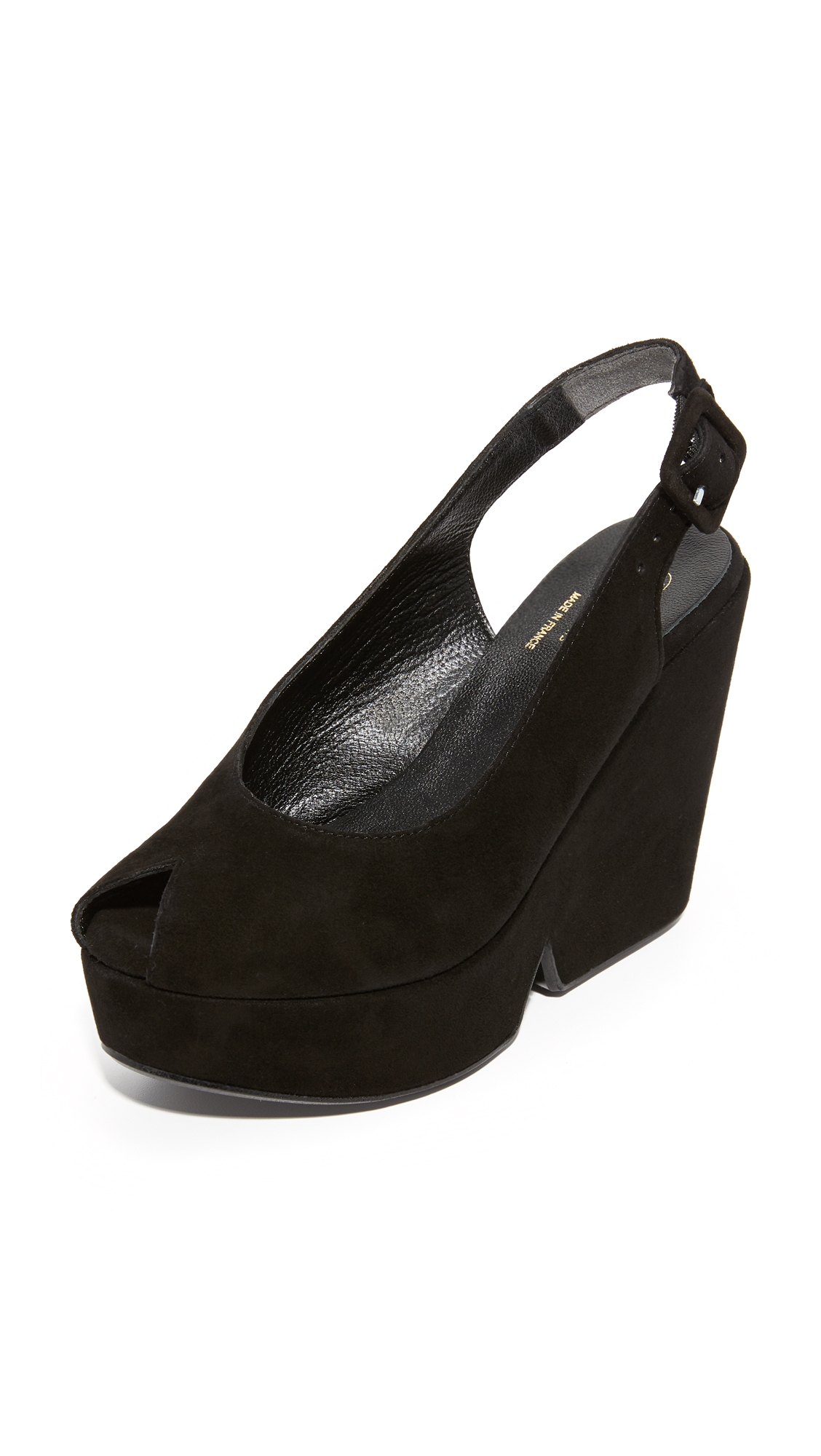 Robert Clergerie Peep Toe Wedge Sandals - Black