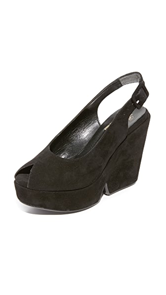 Robert Clergerie Wedge Sandals - Black