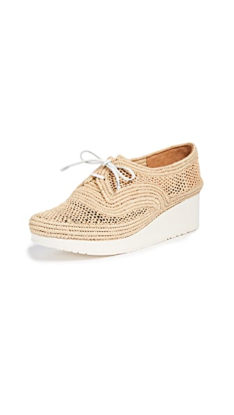 Vicoleo Wedge Oxfords in Gold/Blanc/Rafia