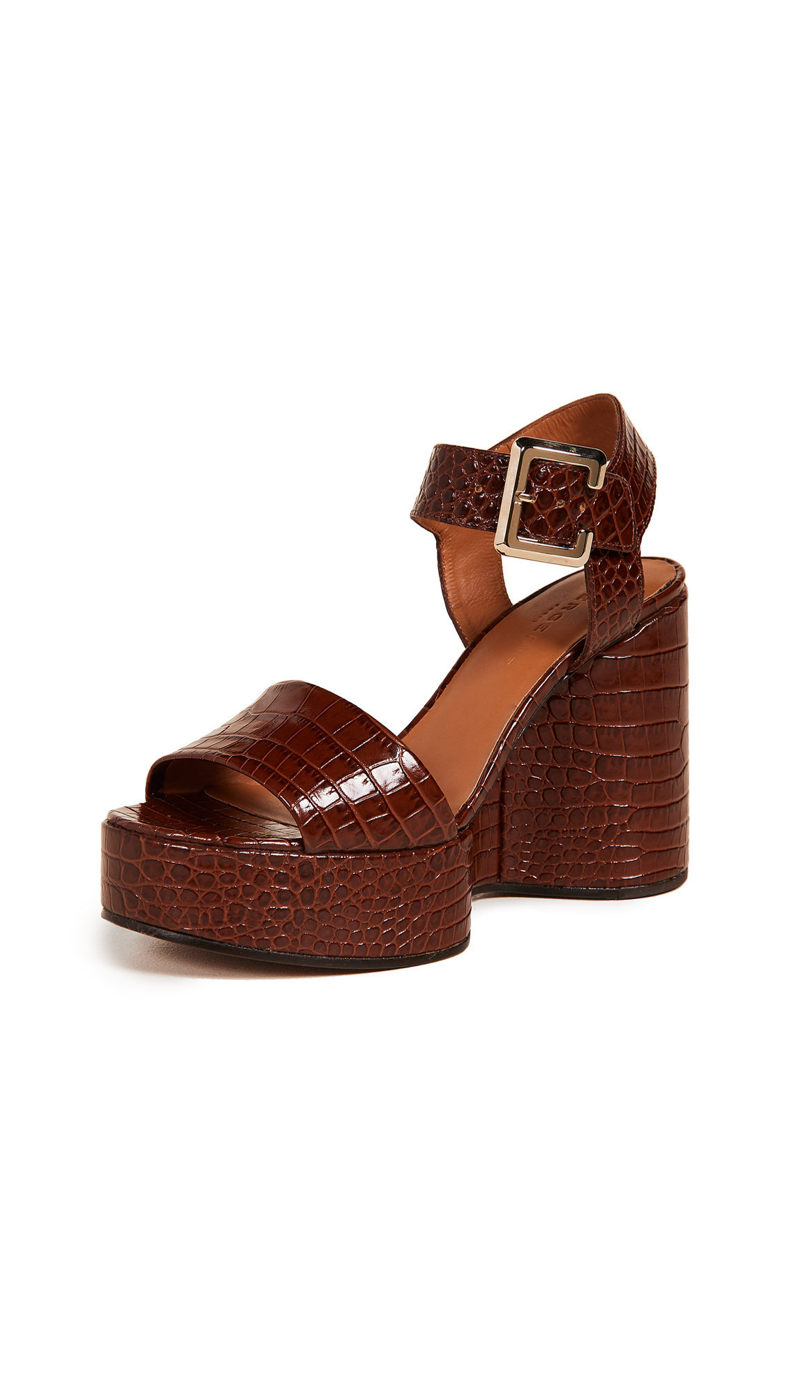 Robert Clergerie Altesse Wedge Sandals - Papaya