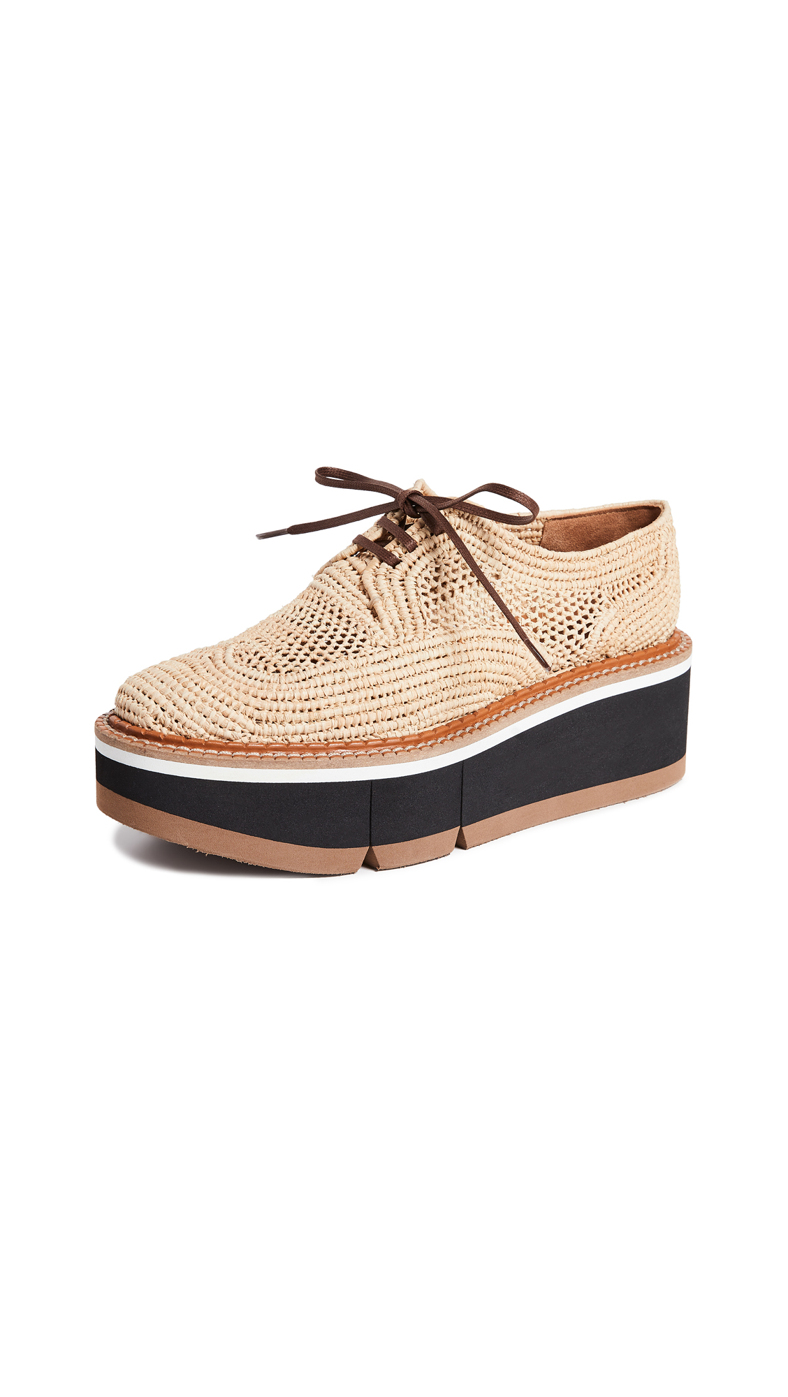 Acajou Raffia Platform Loafers in Natural