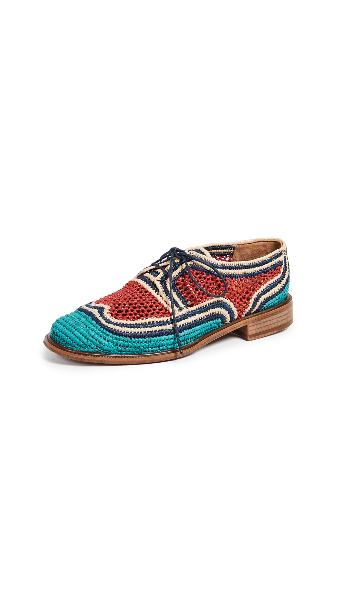 Robert Clergerie Japaille Oxfords - Turquoise/Marine/Nature