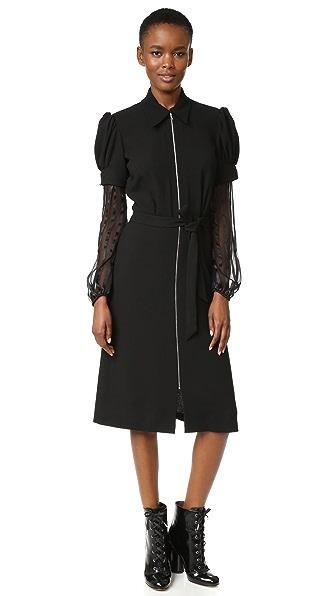 Rodarte Wool & Chiffon Dress - Black