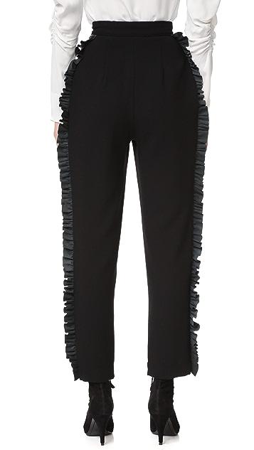 Rodarte Wool Trousers with Leather Ruffle