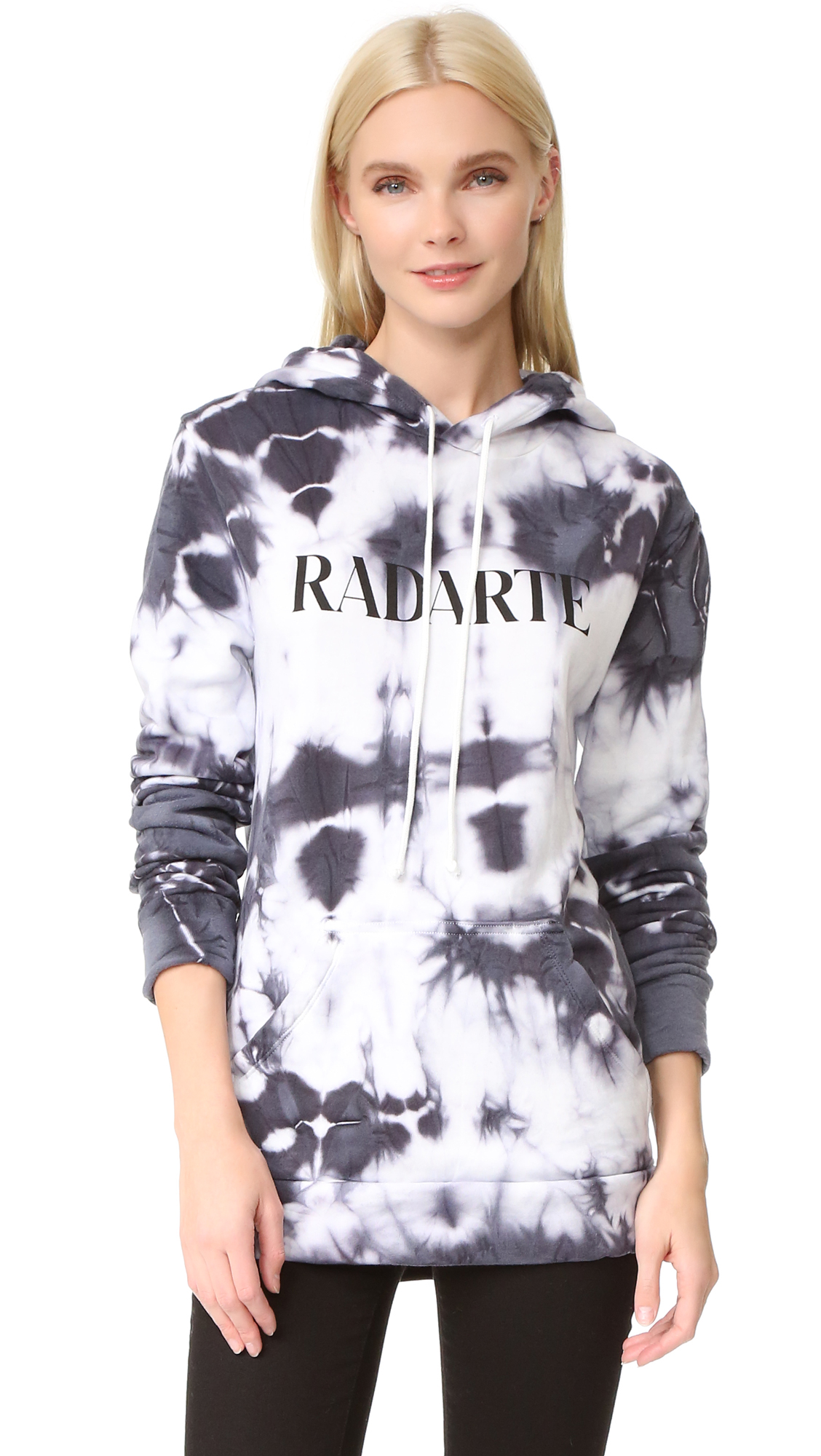 'RADARTE' lettering brings signature style to this tie tye Rodarte hoodie. Pouch pocket. Long sleeves. Fabric: Fleece. 80% cotton/20% polyester. Wash cold. Made in the USA. Measurements Length: 28in / 71cm, from shoulder Measurements from size S. Available