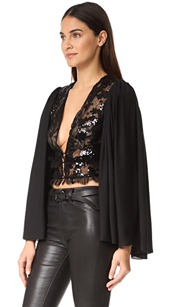 Rodarte Sequin Deep V Neck Blouse