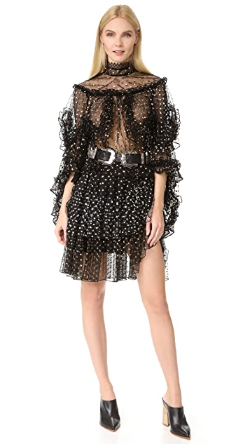 Rodarte Metallic Polka Dot Tiered Ruffle Blouse